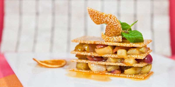 Mille-feuille of caramelised fruits with muscovado sugar - L'Aventure du Sucre